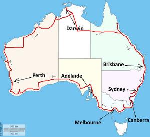 Trajet de mon road trip en Australie