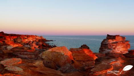 Les falaises ocres de Broome au coucher du soleil...