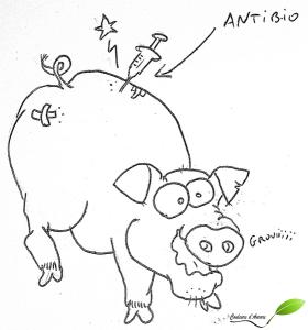 Dessin: un porc avec une injection d'antibiotiques