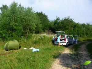L'endroit où des limaces ont attaquées notre tente...
