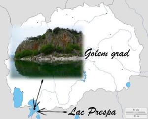 Lac prespa et Golem grad sur une carte