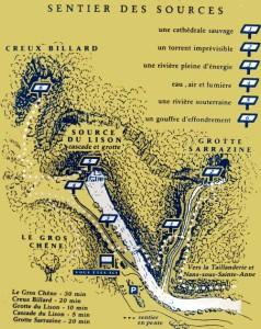 plan du sentier de la source du lison et du creux billard