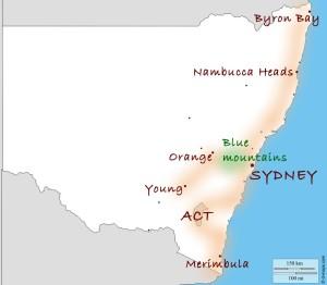 carte du nex south wales (Australie)