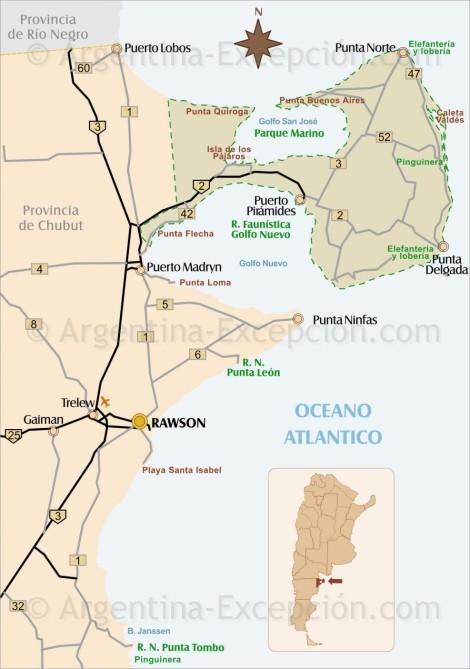carte de la péninsule valdés